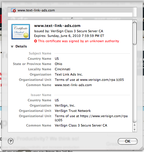 On SSL Warnings and Text Link Ads - Blogging Techstacks